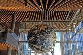 World Globe hanging inside the building — Stok fotoğraf