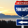 Stock Photo: Think safety road sign
