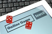 Playing dice for game online — Stock Photo