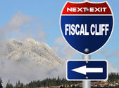 Fiscal cliff road sign — Stock Photo