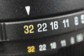 Macro of aperture scale — Stock Photo