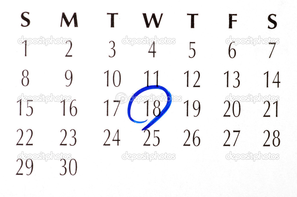 Important date circled on a daily month calendar — Stock Photo #18625613