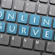 Online survey on keyboard - Stock Photo