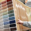 Woman choosing colorful carpet sample — Stock Photo #22655103