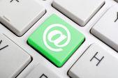 Keyboard At Sign Showing E-mail Symbol — Stock Photo