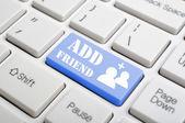 Add friend on keyboard — Stock Photo