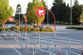 Shopping Cart Signs in the Parking Lot — Stock Photo