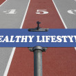 Healthy lifestyle road sign - Stock Photo