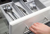 Opening drawer for Silver cutlery — Stock Photo