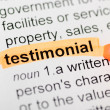 Stock Photo: Testimonial highlighted in dictionary