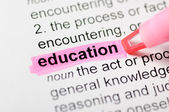Education highlighted in dictionary — 图库照片