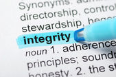 Integrity highlighted in dictionary — 图库照片