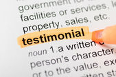 Testimonial highlighted in dictionary — Stock Photo