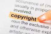 Indicatore arancione sulla parola copyright — Foto Stock