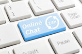 On-line chat on keyboard — Stock Photo