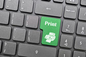 Print on keyboard — Stockfoto