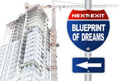 Blueprint of dreams road sign — Stock Photo