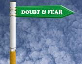 Doubt and fear road sign — Stock Photo