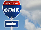 Contact us road sign — Stock Photo