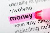 Highlight money word — Stock Photo