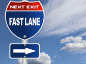 Fast lane road sign — Stock Photo