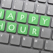 Green happy hour key on keyboard — Stock Photo #32118715