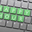 Green happy hour key on keyboard — Stock Photo