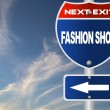Fashion show road sign — Stock Photo