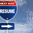 Stock Photo: Resume road sign