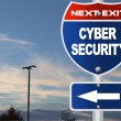 Stock Photo: Cyber security road sign