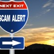 Stock Photo: Scam alert road sign