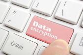 Pressing data encryption key on keyboard — Stock Photo