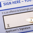 Applicant's signature — Stock Photo