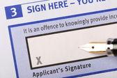Applicant's signature — Stock Photo
