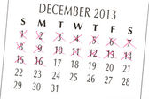 Close up of a white calendar page on December 2013 — Stock Photo
