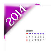 October of 2014 calendar — Stock Photo