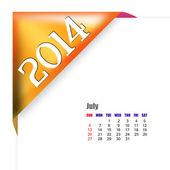July of 2014 calendar — Stock Photo