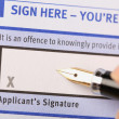 Stock Photo: Applicant's signature