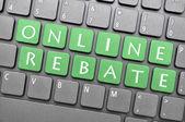 Online rebate on keyboard — Stock Photo
