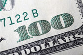 Macro american hundred dollar bill — Stock Photo