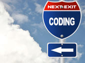 Coding road sign — Stock Photo