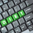 Stock Photo: Green diet key on keyboard