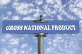 Gross natuional product road sign — Stock Photo