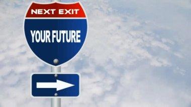 Din framtida vägmärke — Stockvideo