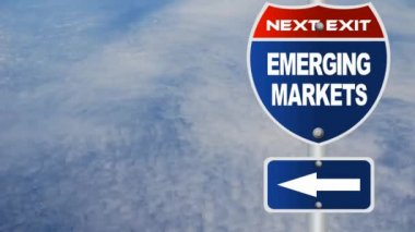 Emerging markets road sign — Stock Video