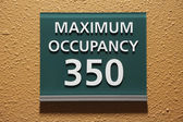 Maximum occupancy 350 sign  — Stock Photo