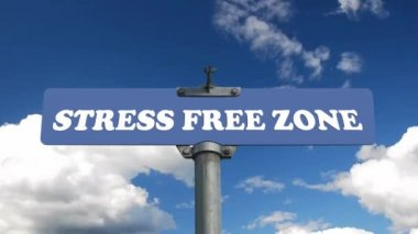 Stress free zone road sign with flowing clouds — Stock Video