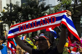 Sign of protesters shut down Bangkok — Stock Photo