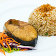Stock Photo: Rice garlic with Fried King mackerel fish