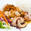 Steamed rice with fried squid with garlic and pepper — Stock Photo #40516463